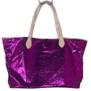 Vibrant Purple glazed leather Sorial Large Tote with leopard print interior